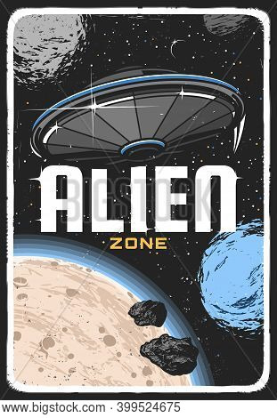 Alien Ufo On Planet Orbit In Space Retro Vector Poster. Extraterrestrial Saucer In Starry Sky Explor