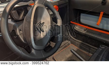 Bordeaux , Aquitaine  France - 12 12 2020 : Citroen Ami Electric Car Steering Wheel Interior Cheap O