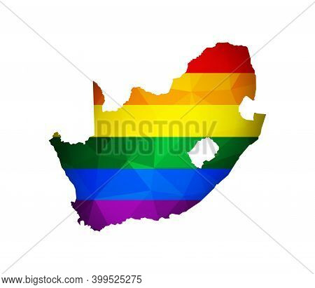 Vector Flat Isolated Concept With South Africa Map In Polygonal Style. Atlas Is Colored In Rainbow F