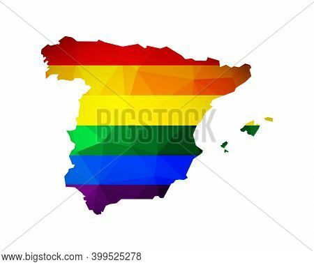 Vector Flat Isolated Concept With Spain Map In Low Poly Style. Atlas Is Colored In Rainbow Lgbtq+ Fl