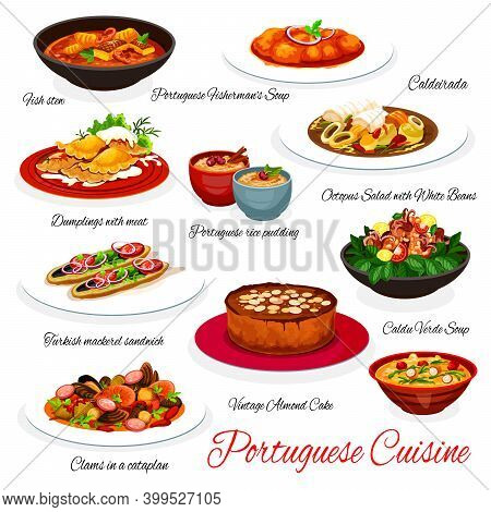 Portuguese Cuisine Seafood, Fish And Vegetable Vector Dishes With Dessert. Cod Soup, Clam Sausage St