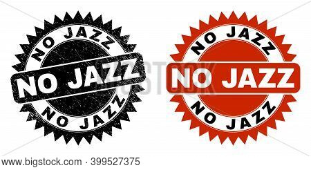 Black Rosette No Jazz Seal Stamp. Flat Vector Scratched Seal Stamp With No Jazz Text Inside Sharp St