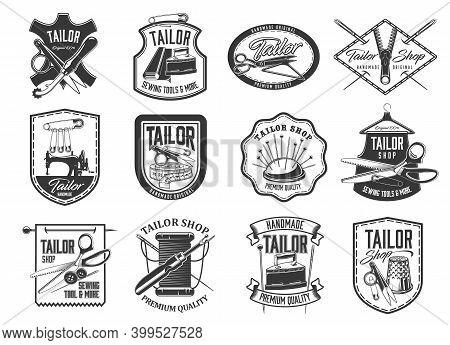 Tailor Shop And Seamstress Service Retro Icons Set. Handmade Clothing Atelier, Dressmaker Workshop A