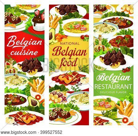 Belgian Food Cuisine, Menu Meals Dishes, Belgium Restaurant Vector Banners. Belgian Traditional Cuis