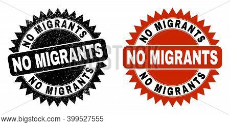 Black Rosette No Migrants Watermark. Flat Vector Scratched Watermark With No Migrants Text Inside Sh