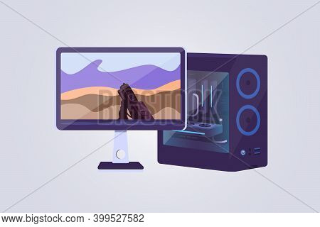 Desktop Computer And Display Vector Icons. Game Computers Lets Play Video Games Concept. Gaming Pc I