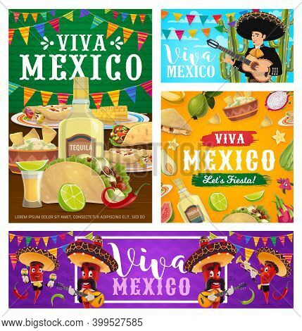 Viva Mexico Vector Banners With Fiesta Party Food, Drink And Pepper Musicians. Mexican Mariachi Char