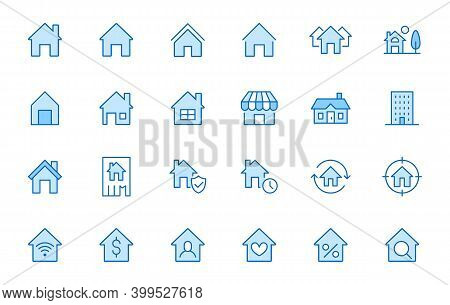 Home Line Icons Set. House, Residential Building, Homepage, Property Mortgage Minimal Vector Illustr