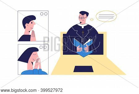 Pastor With Bible Conducts Church Services Online. A Group Of People With Pastor Praying Online. Chu