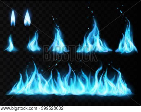 Blue Fire Flame Vector Set On Transparent Background. Realistic Burning Fire Flames Of Gas, Mystic E