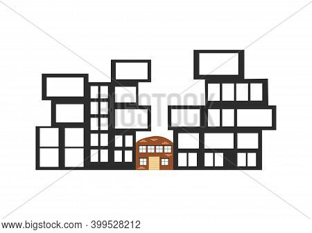 Urban Landscape With Large Modern Buildings And Old House. Flat Vector Illustration