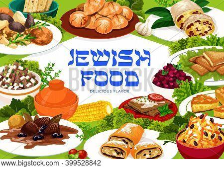 Jewish Cuisine Vector Busbus, Strudel, Sweet And Sour Beets, Jerusalem Burekas And Carrot Tsimes. Ch