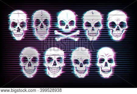Glitch Skulls Vector Distorted Neon Glowing Pixelized Craniums Or Jolly Roger On Black Background. T