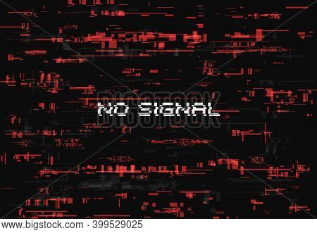 Glitch Effect For No Signal Screen Page. Abstract Vector Background With Red Glitched Random Element