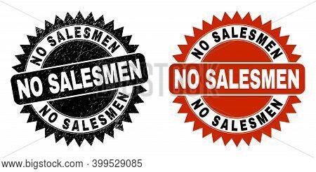 Black Rosette No Salesmen Seal Stamp. Flat Vector Distress Seal With No Salesmen Message Inside Shar
