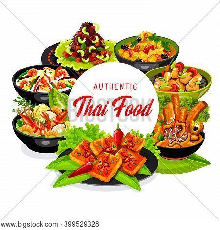 Thai Cuisine Vector Dishes Coconut Milk Fish Soup, Tom Yam Kung And Fried Shrimp Rice, Pork Tenderlo