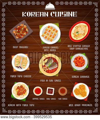 Korean Food Cuisine, Menu Dishes And Meals, Korea Restaurant Vector Dinner And Lunch. Korean Traditi