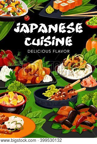 Japanese Cuisine Vector Food Of Rice With Fish, Meat And Vegetable Dishes. Asian Sushi Rolls, Chicke