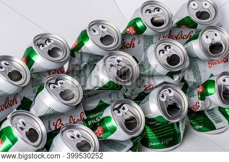 Tatarstan, Russia - Dec 08th 2020. Beer Installation Grolsch Aluminum Drink Can Sing Karaoke Song In