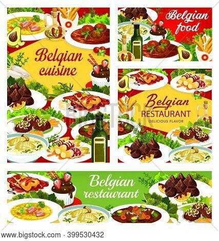 Belgian Food Cuisine, Menu Dishes And Meals Of Belgium Vector Restaurant Dinner And Lunch. Belgian T