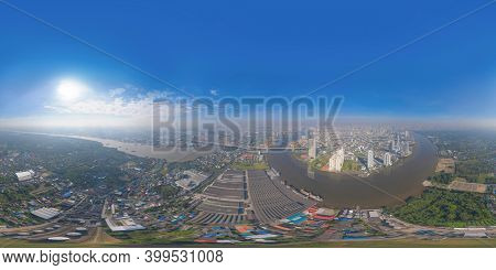 360 Panorama By 180 Degrees Angle Seamless Panorama Of Aerial View Of Bhumibol Bridge And Chao Phray