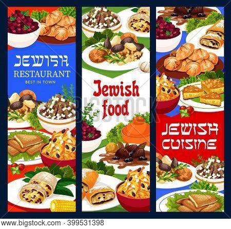 Jewish Food Vector Gefilte Gelzile, Esik Fleish And Jerusalem Burekas, Carrot Tsimes Or Busbus. Stru
