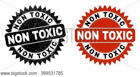 Black Rosette Non Toxic Watermark. Flat Vector Textured Watermark With Non Toxic Message Inside Shar