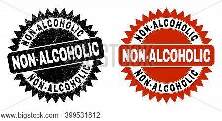 Black Rosette Non-alcoholic Seal Stamp. Flat Vector Scratched Seal Stamp With Non-alcoholic Caption