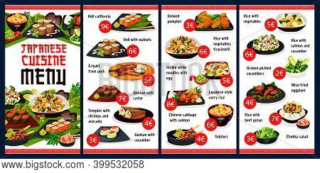 Japanese Restaurant Menu Vector Template With Asian Food Of Sushi, Rice And Noodle Dishes With Veget
