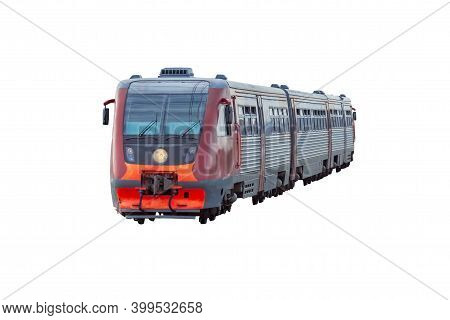 Diesel Passenger Train Isolated On White Background