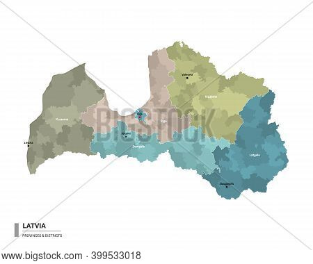 Latvia Higt Detailed Map With Subdivisions. Administrative Map Of Latvia With Districts And Cities N