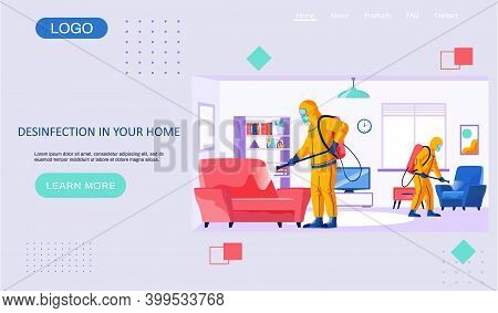 Desinfection In Your Home Landing Page Template With A Description Of The Sanitary Service. Man In A