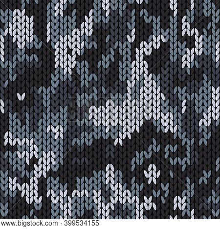 Knitted Camouflage Seamless Pattern. Woolen Knitted Texture. Vector Background