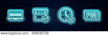 Set Line Clock On Laptop, Calendar With Check Mark, Delete And Pm. Glowing Neon Icon. Vector