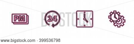 Set Line Clock Pm, , 24 Hours And Time Management Icon. Vector