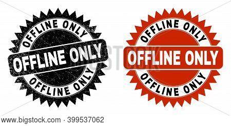 Black Rosette Offline Only Seal. Flat Vector Scratched Seal Stamp With Offline Only Title Inside Sha