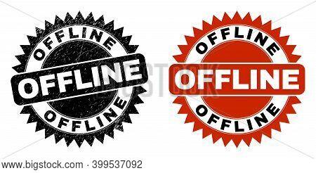 Black Rosette Offline Seal Stamp. Flat Vector Scratched Seal Stamp With Offline Phrase Inside Sharp