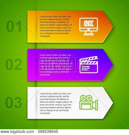 Set Line Monitor With 8k, Movie Clapper, Cinema Camera And Cd Dvd Disk. Business Infographic Templat