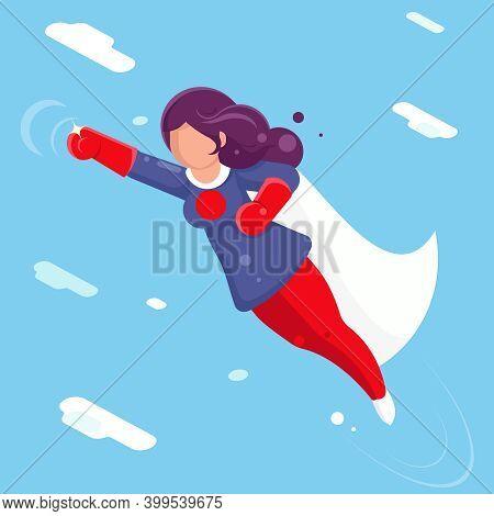 Modern Super Hero Flying Sky Clowds Character Flat Design Vector Illustration