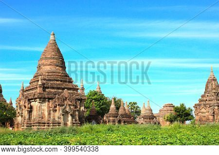 Ancient temples and stupas in the archaeological zone, Bagan, Myanmar (Burma)