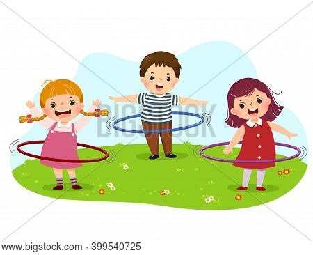 Vector Illustration Cartoon Of Kids Playing Hula Hoop In The Park.