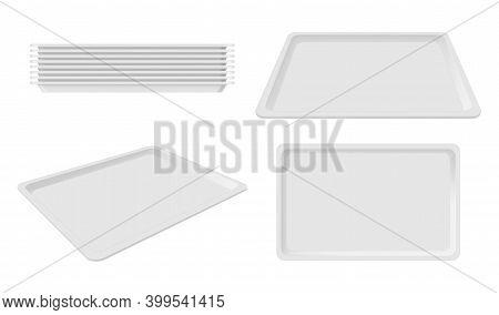 Plastic Empty White Tray Set, Blank Takeout