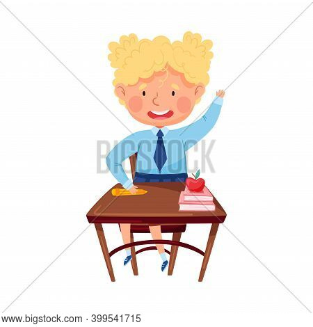 Clever Girl Sitting At Desk At School Lesson And Raising Her Hand To Answer Vector Illustration