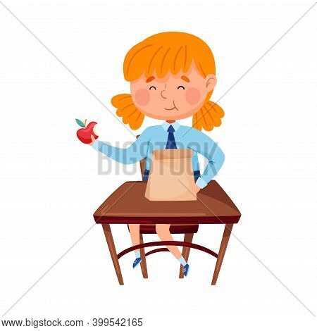 Clever Girl Sitting At School Desk And Eating Apple Vector Illustration