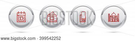 Set Line Independence Day India, Indian , Textile Fabric And Taj Mahal. Silver Circle Button. Vector