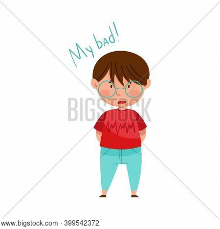 Little Boy In Glasses Feeling Sorry And Expressing Regret For Bad Thing Vector Illustration