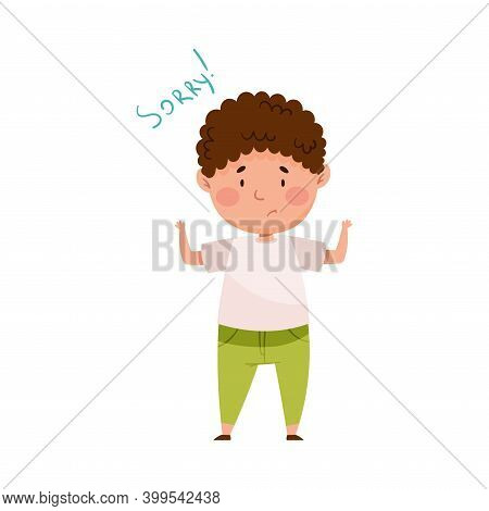 Embarrassed Boy Spreading Hands Feeling Sorry And Expressing Regret Vector Illustration