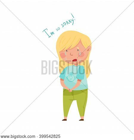Little Girl With Blonde Hair Crying Feeling Sorry And Expressing Regret For Bad Thing Vector Illustr