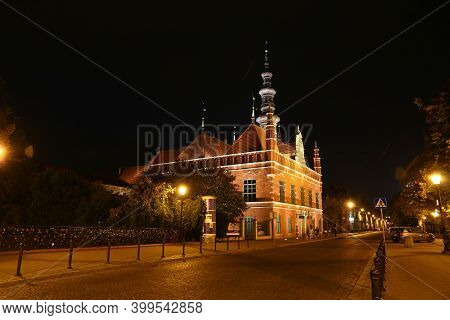 Gdansk, Poland - 17 Sep 2015: The Vintage Church Of Gdansk In Northern Poland At Night