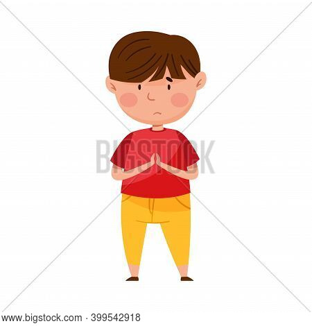 Confused Little Boy Putting His Hands Together Feeling Sorry And Expressing Regret Vector Illustrati